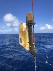Recovered ADCP instrument. Photo by Nicole Hoban, NDBC.