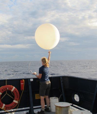 Releasing the rawinsondes that make the atmospheric boundary layer measurements during one of the cruises.