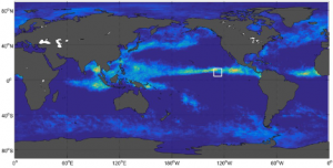 Location of SPURS-2 mooring displayed on the ocean precipitation field from GPCP satellite data. The SPURS-2 mooring and the meteorological instruments. Releasing the rawinsondes that make the atmospheric boundary layer measurements during one of the cruises.
